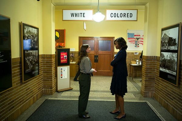 A pretty self-explanatory moment by Chuck Kennedy, as the First Lady toured the Brown v. Board of Education National Historic Site in Topeka, Kansas, with Stephanie Kyriazis, Chief of Interpretation and Education.